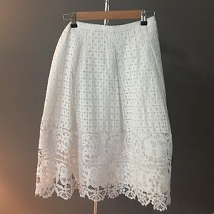 Talbots NWT White Lace A-Line Skirt